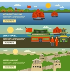 China Culture 3 Flat banners Set vector image vector image