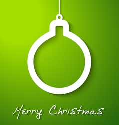 Christmas white ball applique on green background vector image vector image