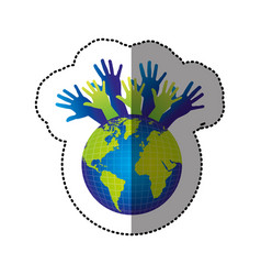 color earth planet connection hands up vector image