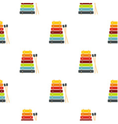 Colorful xylophone toy and sticks pattern seamless vector