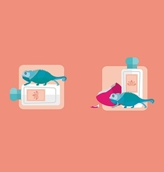 creative icons bottle of perfume and chameleon vector image