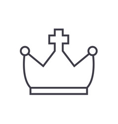 crown with cross line icon sign vector image vector image