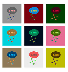 flat assembly icons of sale gift rain vector image
