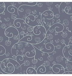 flowers and birds Endless floral pattern vector image