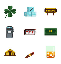 gambling icons set flat style vector image vector image