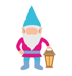 gnome without face and colorful costume with hand vector image vector image