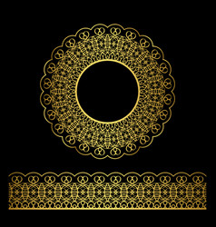 golden lacy border and circle frame vector image vector image