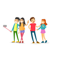 group of caucasian friends taking a selfie photo vector image