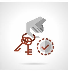 Hand with keys flat color icon vector image