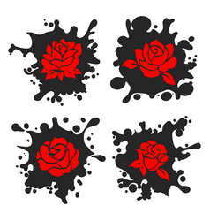 ink stains silhouettes with red roses vector image
