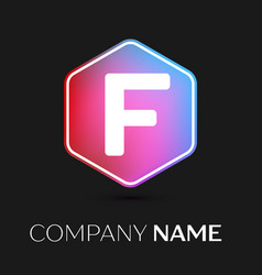 Letter f logo symbol in colorful hexagonal vector