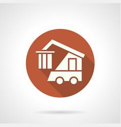 logistics machine orange round icon vector image vector image