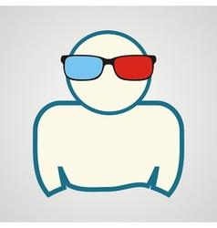 Man in 3d glasses vector