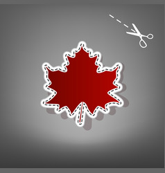 Maple leaf sign red icon with for vector