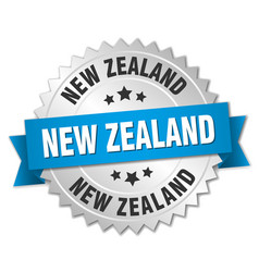 New zealand round silver badge with blue ribbon vector
