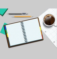 notebooke and cup of coffee vector image vector image