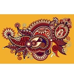 Original digital draw line art ornate flower vector