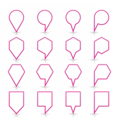 Pink map pin sign flat location icon web button vector