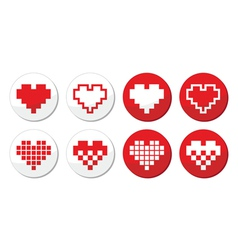 Pixeleted red heart icons set - love dating onlin vector image