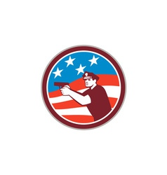 Policeman With Gun American Flag Circle Retro vector image
