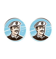 Portrait of happy captain logo or label cartoon vector