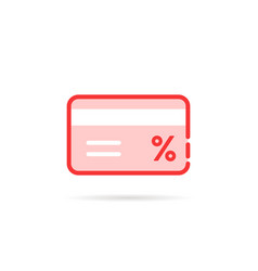 red linear credit card like discount vector image vector image