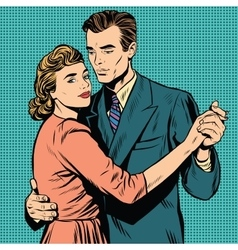 Retro man and woman dancing vector