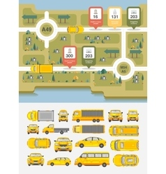 Set cars and highways map vector image vector image