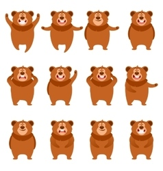 Set of flat bear icons vector image vector image
