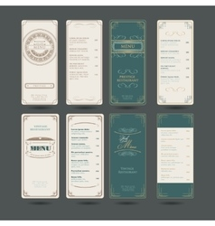 Set Of Vintage Restaurant Menu Design Template vector image