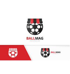 Soccer and shop logo combination ball and vector