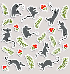 stickers with mouses and flowers labels with cute vector image vector image