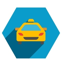 Taxi car flat hexagon icon with long shadow vector