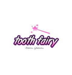 Tooth fairy word text logo icon design concept vector