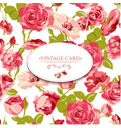 Vintage Floral Card with Roses vector image vector image