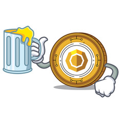With juice komodo coin mascot cartoon vector
