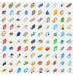 100 studio icons set isometric 3d style vector