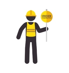 man sign yellow runder construction icon vector image
