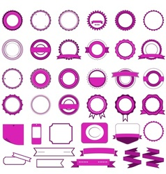 Set of sale badges labels and stickers in pink vector image