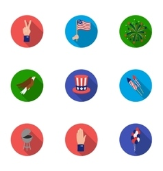 Patriot Day set icons in flat style Big vector image