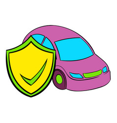 car insurance icon cartoon vector image