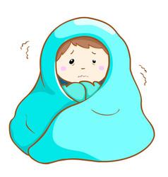 Ill man shivering hard under blanket vector