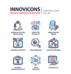 Device service - modern line design icons vector