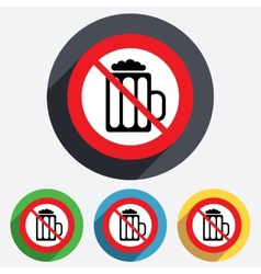 Glass of beer sign icon no alcohol drink symbol vector