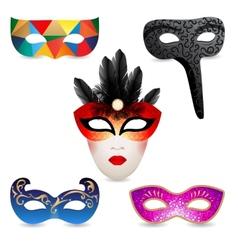 bright carnival masks icons vector image