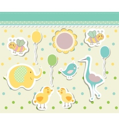 Vintage doodle baby toys for greeting card vector