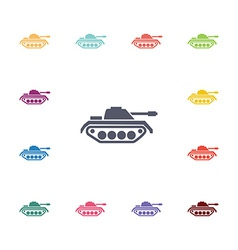 Tank flat icons set vector
