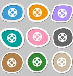 film icon symbols Multicolored paper stickers vector image
