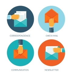 Flat envelope emailing and vector