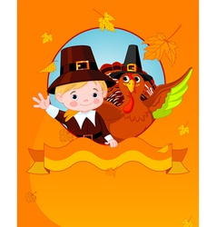 Thanksgiving pilgrim and turkey vector